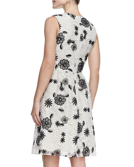 Full-Skirt Floral Lace Dress, Ivory/Black