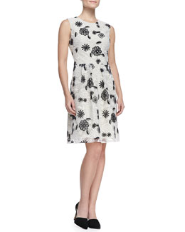 Lela Rose Full-Skirt Floral Lace Dress, Ivory/Black