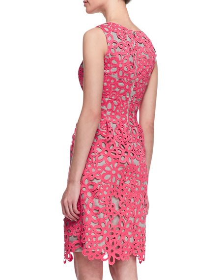 Floral Guipure Lace Dress, Peony Pink