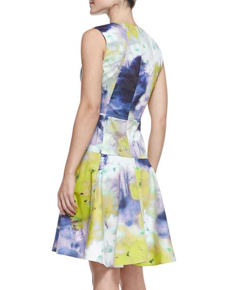 Seamed Drop-Waist Printed Cotton Dress