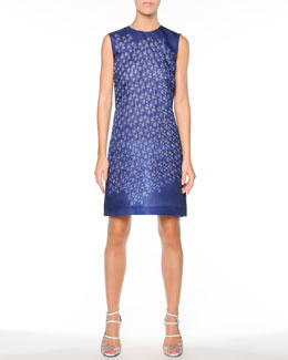 Fendi Kaleidoscope Organza Dress, Blue