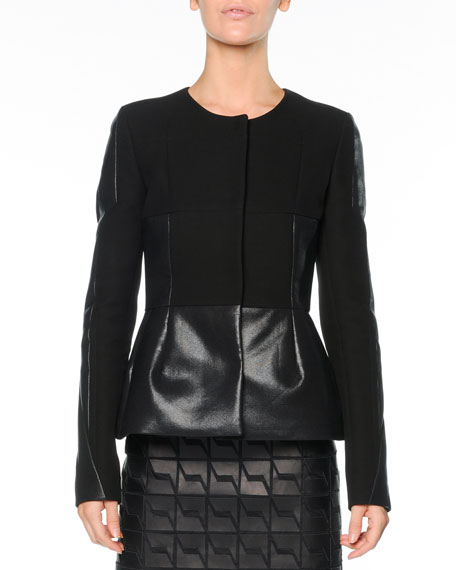 Crepe & Coated Cotton Peplum Jacket, Black