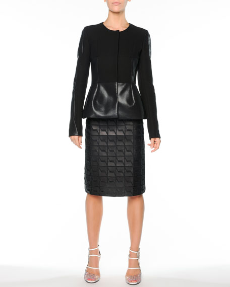 Graphic Leather A-Line Skirt, Black
