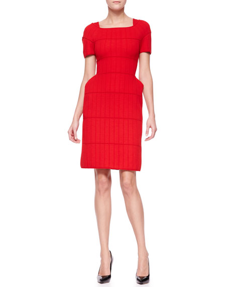 Exaggerated-Hip Knit Dress