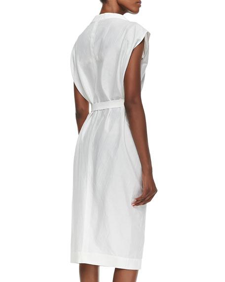 Oversize-Neck Belted Shirtdress