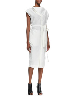 Rick Owens Oversize-Neck Belted Shirtdress