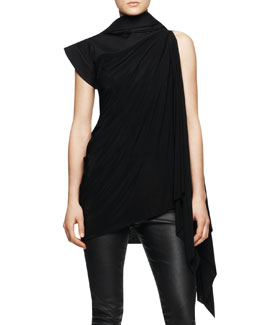 Rick Owens Sleeveless Long Tunic Toga with Hood, Black