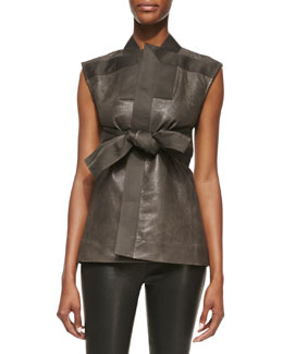 Rick Owens Brion Sleeveless Leather Jacket