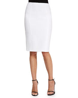Lela Rose High-Waist Pencil Skirt, Ivory