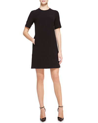 Lela Rose Short-Sleeve Seamed Tunic Dress, Black
