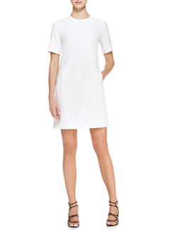 Lela Rose Short-Sleeve Seamed Tunic Dress, Ivory