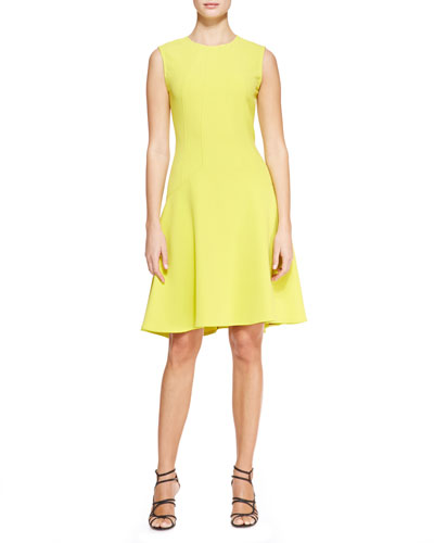 Lela Rose Seamed Drop-Waist Dress, Citrine Yellow