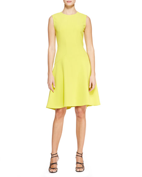 Sophia Seamed Drop Waist Dress, Citrine Yellow