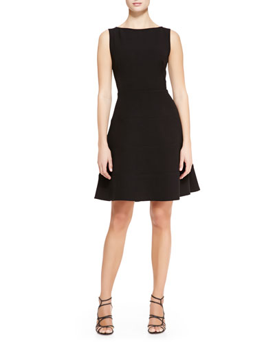 Lela Rose Boat-Neck Dress with Full Skirt, Black