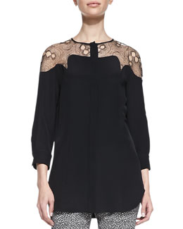 Lela Rose Tulle-Yoke Silk Blouse