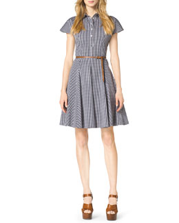 Michael Kors Gingham Check A-Line Shirtdress