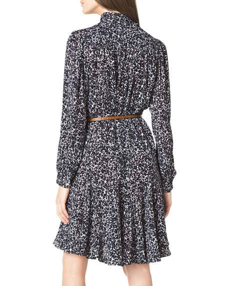 Blossom-Print Belted Dress
