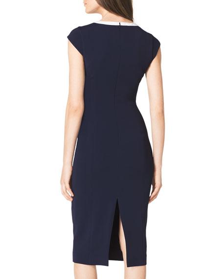 Contrast Cap-Sleeve Sheath Dress
