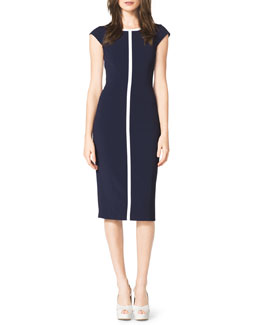 Michael Kors  Contrast Cap-Sleeve Sheath Dress