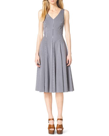 Gingham Check Sleeveless A-Line Dress
