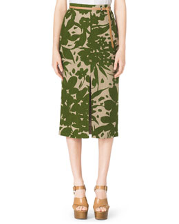 Michael Kors  Floral-Print Linen Pencil Skirt