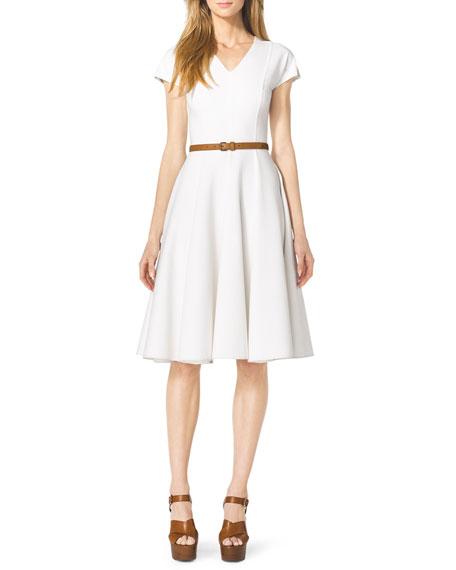 Cap-Sleeve Linen Dress