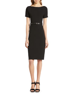Gucci Black Belted Dress with Mesh Detail