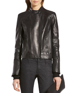 Gucci Black Shiny Calf Biker Jacket
