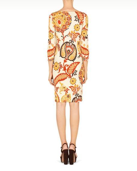 Paisley Printed 3/4-Sleeve Dress, Ivory/Multi