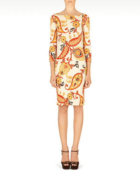 Gucci Paisley Printed 3/4-Sleeve Dress, Ivory/Multi