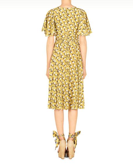 Sailboat Printed Silk Dress, Cardamom