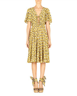 Gucci Sailboat Printed Silk Dress, Cardamom