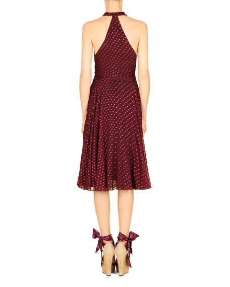 Shimmery Dotted Chiffon Halter Dress, Violet