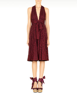 Gucci Shimmery Dotted Chiffon Halter Dress, Violet