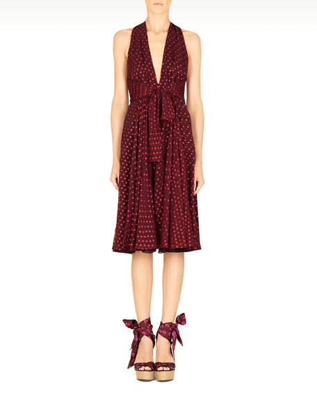 Shimmery Dotted Chiffon Halter Dress, Violet