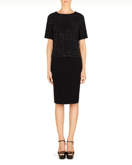 Gucci Jersey Dress with Studded Top, Black