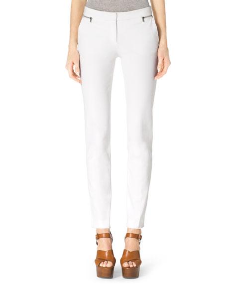 Stretch-Twill Zipper Pants