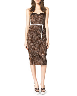 Michael Kors  Strapless Polka-Dot Dress