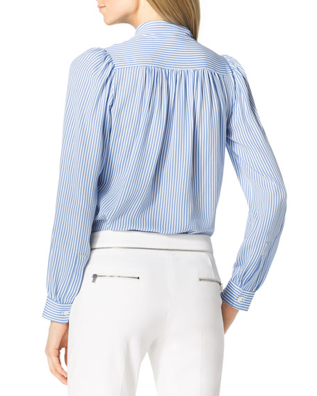 Striped Silk Tie-Neck Blouse