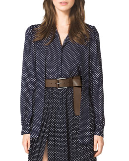 Michael Kors  Polka-Dot Tie-Neck Blouse