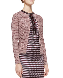 Bottega Veneta Ribbon Yarn Striped Cardigan