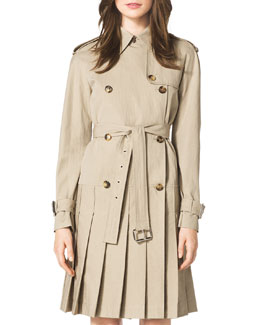 Michael Kors  Pleated Trenchcoat Dress