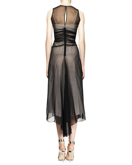 Sleeveless Sheer Ruched High-Low Dress