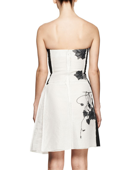 Strapless Embroidered Mesh Dress
