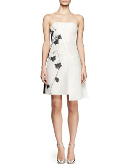 Reed Krakoff Strapless Embroidered Mesh Dress