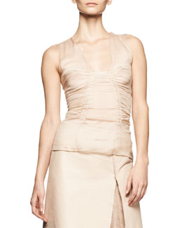 Reed Krakoff Sleeveless Ruched Chiffon Top
