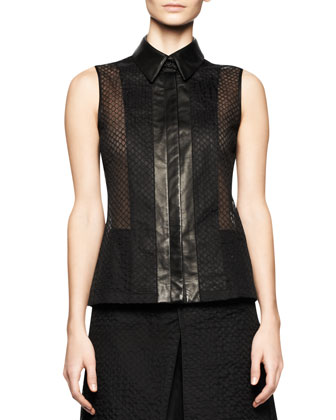 Sleeveless Embroidered Mesh Top with Leather Trim