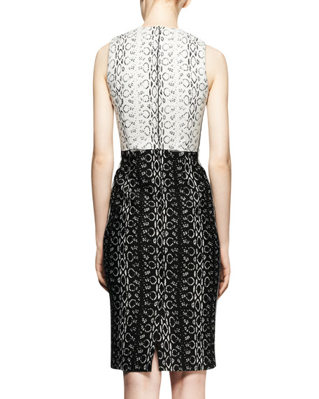 Sleeveless Paneled Viper-Print Dress
