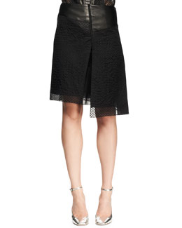 Reed Krakoff Asymmetric Embroidered Mesh Skirt