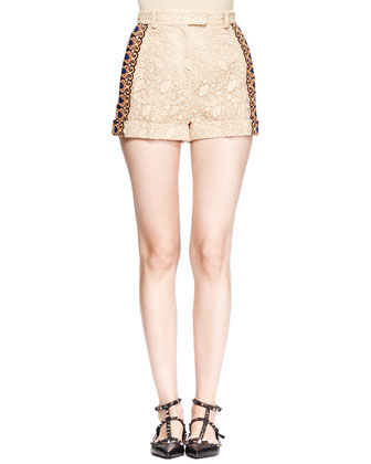 Embroidered Lace Cuffed Shorts